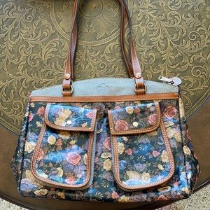 Patricia Nash Denim and Floral Leather Bag EUC